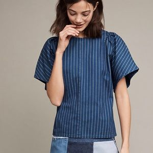 Anthropologie Mih Striped Mina Blue and White Top